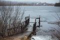 Cold melancholic spring landscape with lake Stock Image