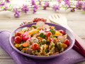 Cold mixed pasta salad with tuna Royalty Free Stock Image