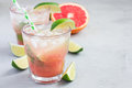 Cold pink cocktail with fresh grapefruit, lime, copy space Royalty Free Stock Photo