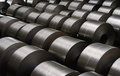 Cold rolled steel coil at storage area in steel industry Royalty Free Stock Photo