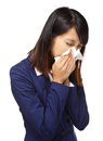 Cold sneezing asian business woman isolated on white background Stock Photo