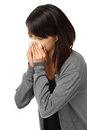 Cold sneezing asian woman isolated on white background Royalty Free Stock Photography