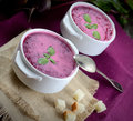 Cold soup fresh beet with cream, vintage spoon, napkin, crackers Royalty Free Stock Photo