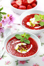 Cold strawberry soup Royalty Free Stock Photo