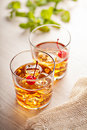 Cold summer cocktail drink with cherry red Royalty Free Stock Photo