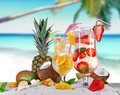 Cold summer drinks on sunny beach Stock Image