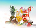 Cold summer drinks on sunny beach Royalty Free Stock Images