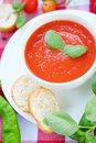 Cold summer tomato dish. Gaspacho soup with toast. Royalty Free Stock Photo