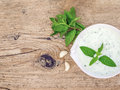 Cold summer yogurt and cucumber soup with fresh herbs Royalty Free Stock Photo