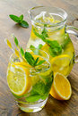 Cold tasty lemonade with fresh lemon and mint Royalty Free Stock Photo