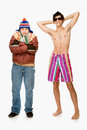 Cold and warm young men Royalty Free Stock Photo