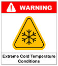 Cold warning sign , snow warning - triangular sign , vector illustration Royalty Free Stock Photo