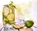 Cold water with lemon mint leaf. Fresh lemonade lime slice. Royalty Free Stock Photo