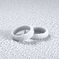 Cold wedding rings studio photography of two ice covered in frosty back Royalty Free Stock Photography