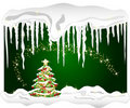 Cold winter background with christmas tree Stock Photo