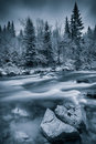 Cold winter near a river Royalty Free Stock Photo