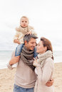 Colder season happy walking family enjoying Royalty Free Stock Photography