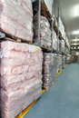 Coldstore frozen meat in a huge warehouse vertical Stock Images