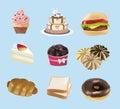 Colección de los dulces, de la panadería, y de los alimentos de preparación rápida Imágenes de archivo libres de regalías