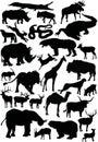 Colección grande de las siluetas de los animales Imágenes de archivo libres de regalías