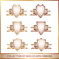 Colection of shields with ribbons Royalty Free Stock Photography