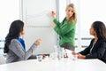 Colegas de giving presentation to da mulher de negócios Imagens de Stock Royalty Free