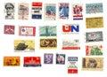 Coleção de selos americanos Fotografia de Stock Royalty Free