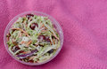 Coleslaw in a plastic to go container with copyspace Royalty Free Stock Photo