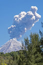 Colima volcano with steam eruption or volcan de fuego ash and mexico Stock Photos