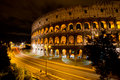 Coliseum by night rome italy the colosseum was built in the s ad and was the largest amphitheatre built during the roman empire Royalty Free Stock Photography