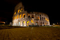 Coliseum by night rome italy the colosseum was built in the s ad and was the largest amphitheatre built during the roman empire Royalty Free Stock Image