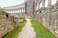 Coliseum reconstruction old path inside of ancient roman Royalty Free Stock Photos