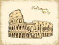 Coliseum in Rome, Italy. Colosseum hand drawn vector illustration Royalty Free Stock Photo
