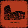 Coliseum in Rome, Italy. Colosseum hand drawn vector illustration, the style of ancient vase painting background Royalty Free Stock Photo