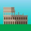 Coliseum in Rome, Italy vector illustration. Flavian Amphitheater flat style icon.