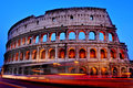The coliseum in rome italy a view of flavian amphitheatre or at sunset Royalty Free Stock Image