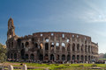Coliseum rome outside the roman with its arches and the curved shape of its outer walls italy Royalty Free Stock Image