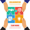 Collaboration concept. Cooperation, teamwork. Successful solution puzzle. Symbol of partnership. Vector, flat design Royalty Free Stock Photo