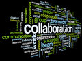 Collaboration concept in word tag cloud isolated on black background Royalty Free Stock Image