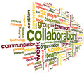Collaboration concept in word tag cloud isolated on white background Royalty Free Stock Image