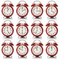 Collage alarm clock at every hour on white background Royalty Free Stock Photo