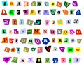 Collage alphabet newspaper uppercase lowercase and symbols cutouts isolated on white mix and match to make your own words Stock Images