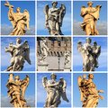 Collage of angel statues from saint bridge rome italy Royalty Free Stock Image