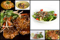 Collage of appetizers and salads Royalty Free Stock Photo