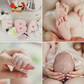 Collage arms legs mother and child a newborn baby in his s handles head tenderly holding a baby a newborn in his s a Royalty Free Stock Images