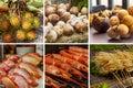 Collage asian market snapper, shrimp on ice, rambutan and enoki mushrooms