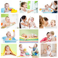 Collage of babies kids at bath time hygiene conce collection or concept for little children Stock Photos