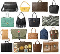 Collage of bags on white background Royalty Free Stock Photos