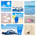 Collage of beach holiday scenes Royalty Free Stock Photos