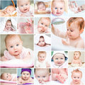 Collage of a beautiful baby set photos cute in the bathroomr Royalty Free Stock Image
